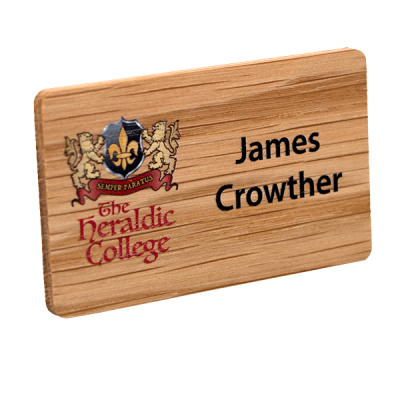personalised printed oak name badge