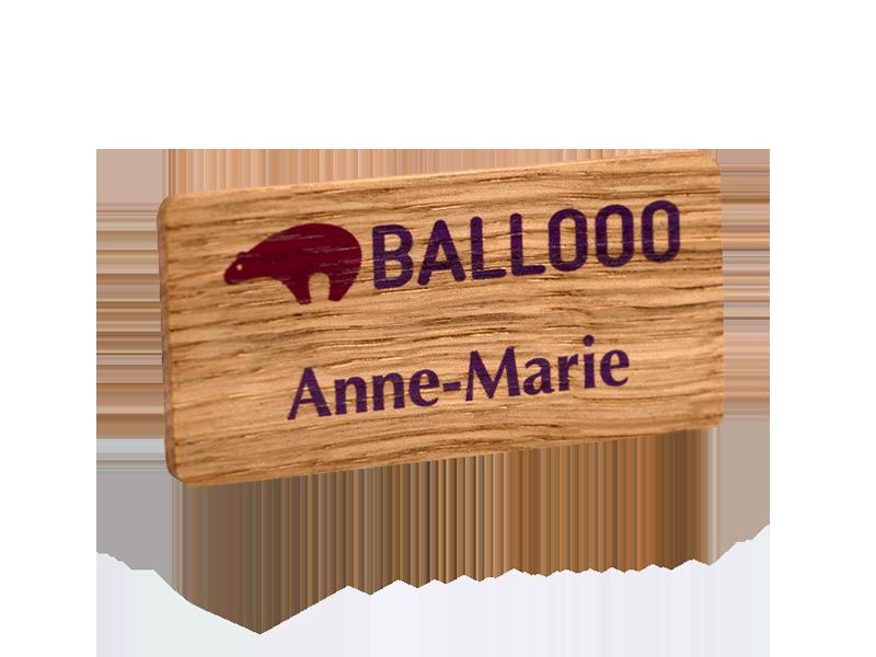 personalised printed oak name badge