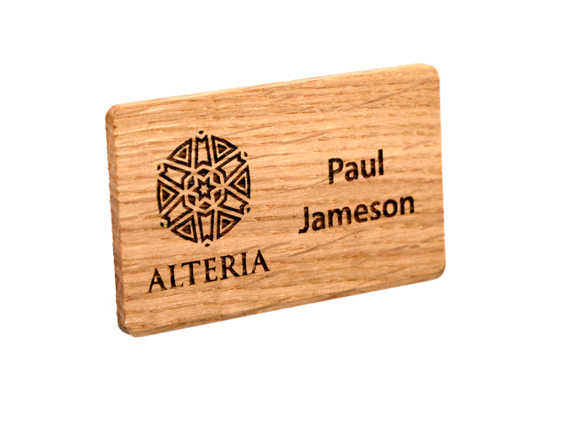personalised oak engraved name badge