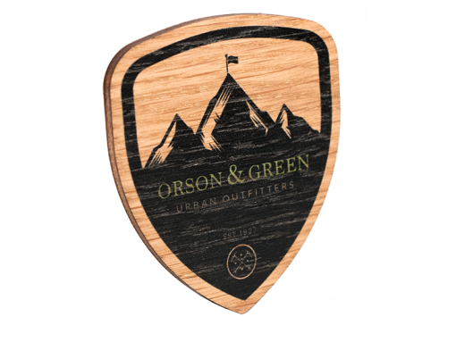 Bespoke Shaped Oak Ply Promotional Badge
