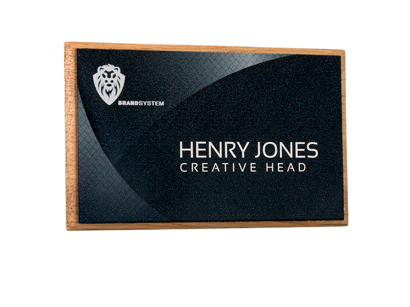 personalised oak framed name badge