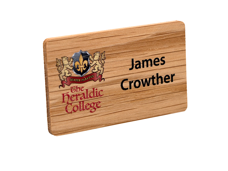 Well-known real wood name badges | britishmade badges MO35