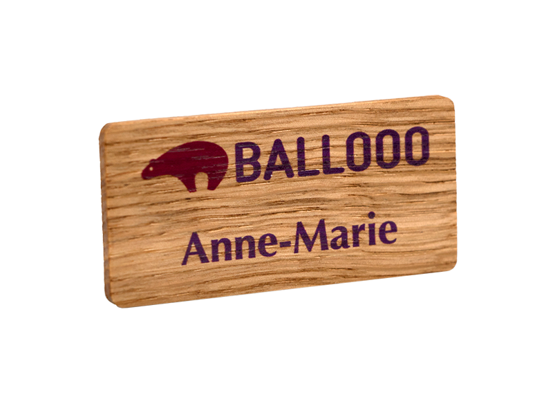 Fantastic real wood name badges | britishmade badges BS33